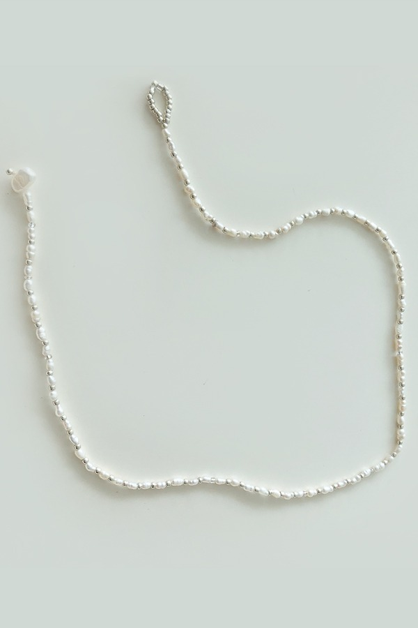 Pearl Silver Bead Necklace